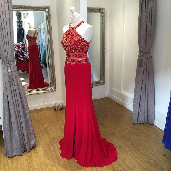 Beaded Red Halter Fitted Prom Dress , Homecoming Dress,Evening Gown