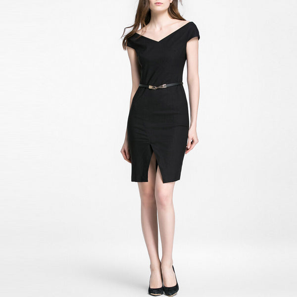 Black Cap Sleeve Fitted Summer Short Dress With Centre Slit