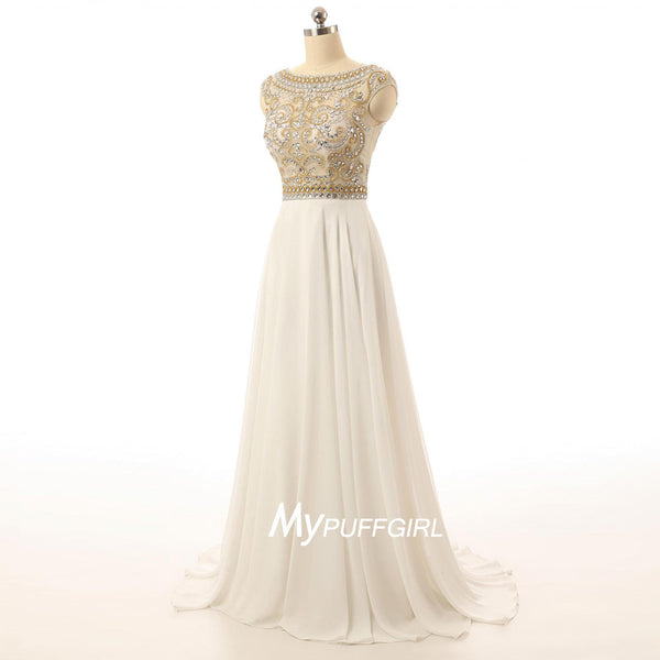 Champagne Cap Sleeves Chiffon Prom Dress With Sheer Beaded Bodice