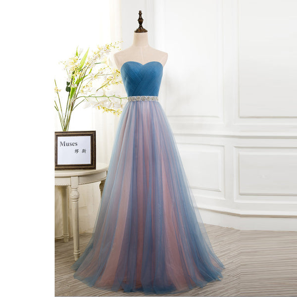 2017 Sweetheart Tulle Long Party Dress, Formal Gown With Pleated Bodice
