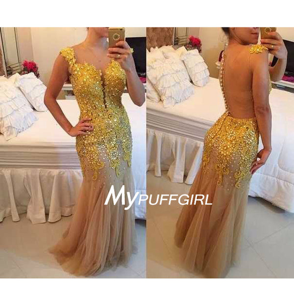 Beaded Gold Lace Cap Sleeves Sweetheart Mermaid Prom Gown With Sheer Back
