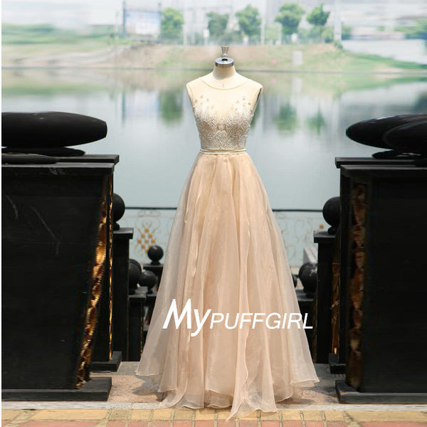 Gorgeous Champagne Illusion Tulle Low Back Prom Dress With Pearls