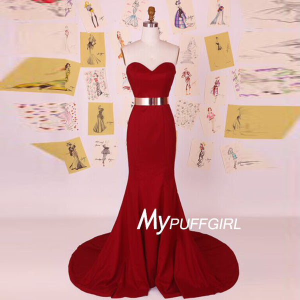 Dark Red Satin Sweetheart Mermaid Formal Gown With Gold Belt
