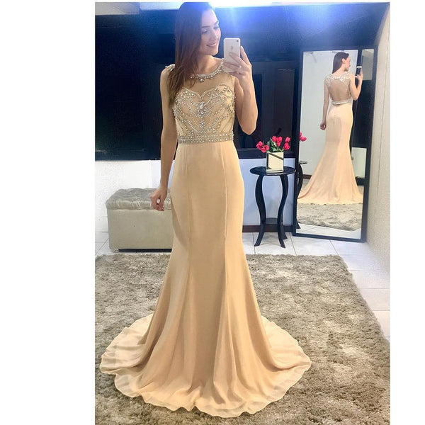 Beaded Dark Champagne Bateau Prom Dress,Sheath Formal Gown With Open Back