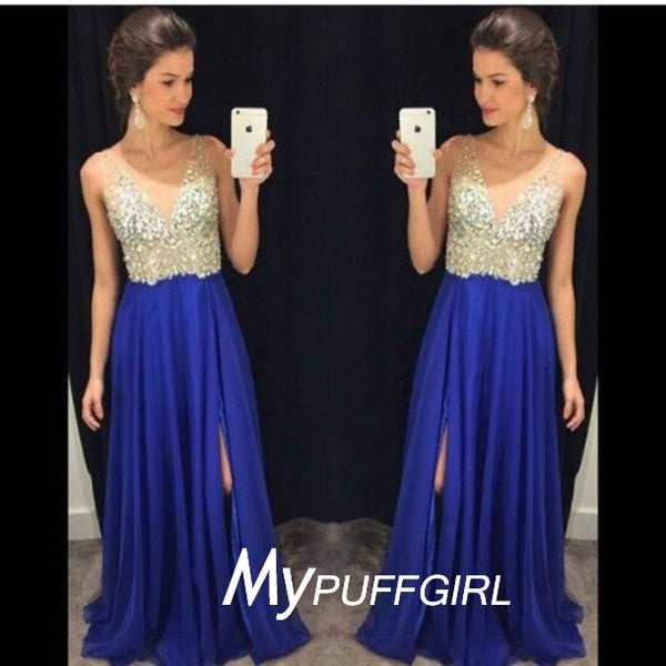 2016 Royal Blue V Neck Beaded Bodice Prom Gown With Side Slit