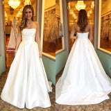 2018 New Arrival Simple Ivory Strapless Wedding Dress A Line Formal Gown With Train
