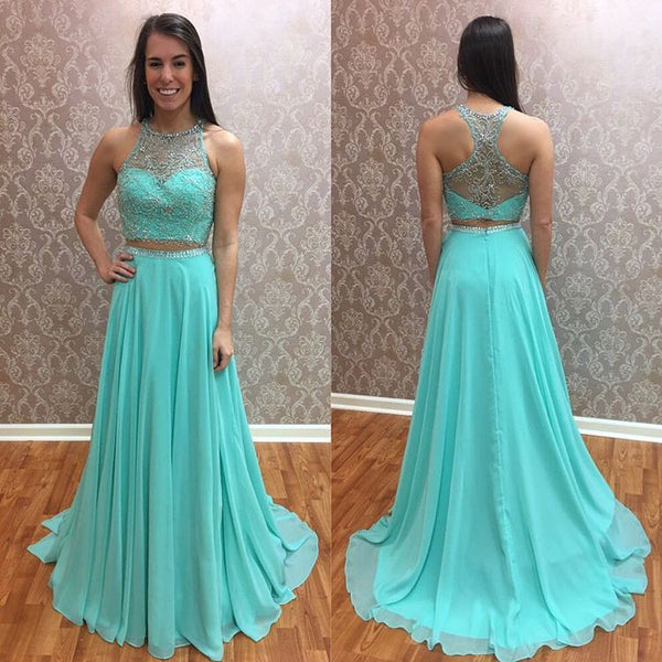 Beaded Mint Two Piece Prom Dress,2017 sleeveless Chiffon Formal Gown