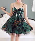 Green Sweetheart Cocktail Party Dress With Print Floral