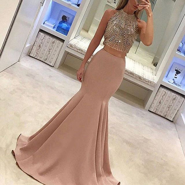Nude Two Piece Prom Dress,Mermaid Prom Gown With Beaded Top