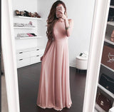 Pink Chiffon Long Party Dress, Backless Formal Gown,Bridesmaid Dress