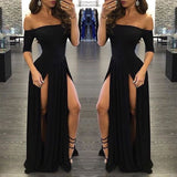 Black Off The Shoulder Party Dress Long ,Short Sleeve Formal Gown High Slit