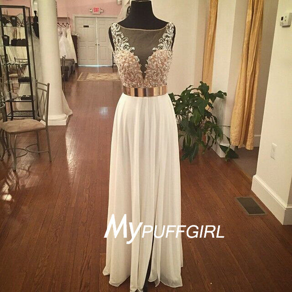 Ivory Illusion Beaded Bodice V Back Chiffon Prom Dress With Gold Bet
