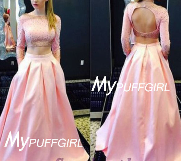 Pink Beaded Long Sleeves Keyhole Back Two Piece Gown With Pockets
