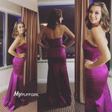 Persian Plum Sweetheart Satin Fitted Prom Dress, Formal Gown , Pangent Gown