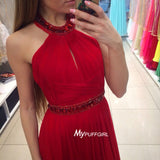 Red Halter Chiffon Prom Dress , Formal Gown Keyhole Bodice