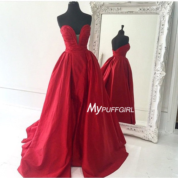 2016 Red Plunging Sweetheart Taffeta Prom Gown , Homecoming Dress