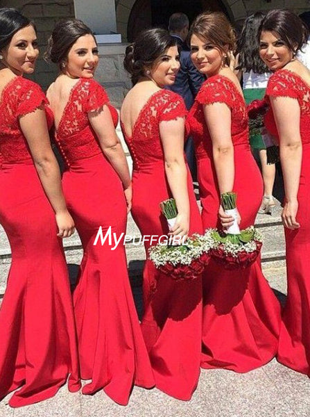 Red V Neck Cap Sleeve Satin Mermaid Bridesmaid Dress With Lace Top