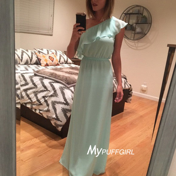 Ice Blue One Shoulder Long Flouncy Chiffon Bridesmaid Dress