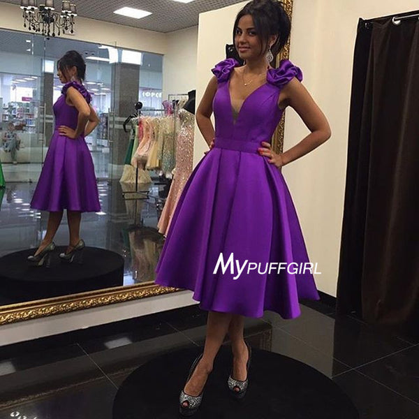 Purple Plunging Satin Short Party Dress , Homecoming Dress