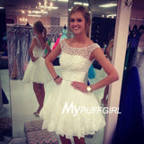White Boat Neckline Cap Sleeves Homecoming Dress With Beaded Bodice