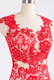 Red Lace Cap Sleeves Open Back Mermaid Prom Dress With Side Slit