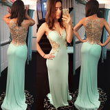Beaded Mint V Neck Prom Dress , Jersey Fitted Formal Gown, Prom Gown Long