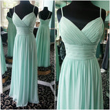 Mint Empire Chiffon Party Dress, Floor Length Bridesmaid Dress