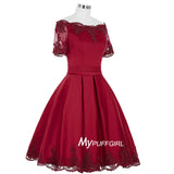 Wine Red Off The Shoulder Satin Short Party Dress With Lace Appliques , Short Sleeves