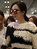 Fashion White And Black Crochet Pullovers Sweater For Women