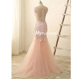 Fit And Flare Pearl Pink Illusion Prom Dress With Lace Appliques , Sheer Back