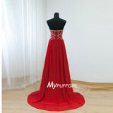 Red Strapless Beaded Long Prom Dress , Chiffon Formal Gown With Sweep Train