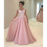 Pink Illusion Prom Dress, A Line Tulle Formal Gown With Appliques Top