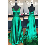 2018 Sexy V Neck Long Formal Gown Green A Line Prom Dress With Side Slit
