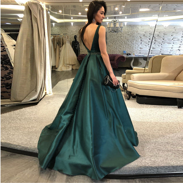 f8a8938c281 ... Gorgeous Teal A Line Prom Dress Long Backless Formal Gown For  Graduation Party ...