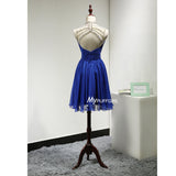 Beaded Royal Blue High Neck Illusion Short Party Dress With Open Back
