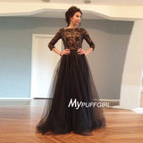 Black Tulle V Back Lace Appliques Evening Gown With 3/4 Sleeves