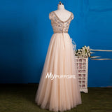 Champagne Beaded Cap Sleeves Tulle A Line Prom Dress ,Formal Gown With Crystals
