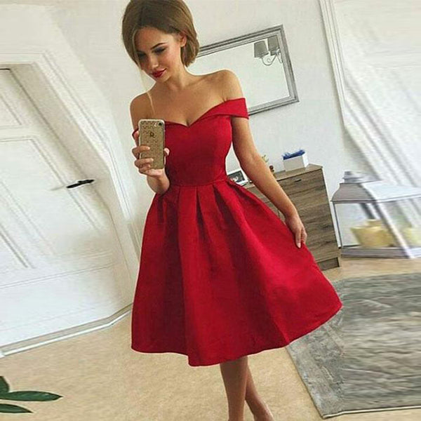 2018 Hot Sale Red Off The Shoulder Cocktail Party Dress,A Line Homecoming Dress