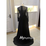 Black Sheer Long Sleeves Chiffon Formal Gown With Lace Appliques Bodice