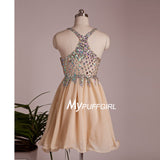 Champagne Sweetheart Cocktail Dress With Colorful Crystals And Straps