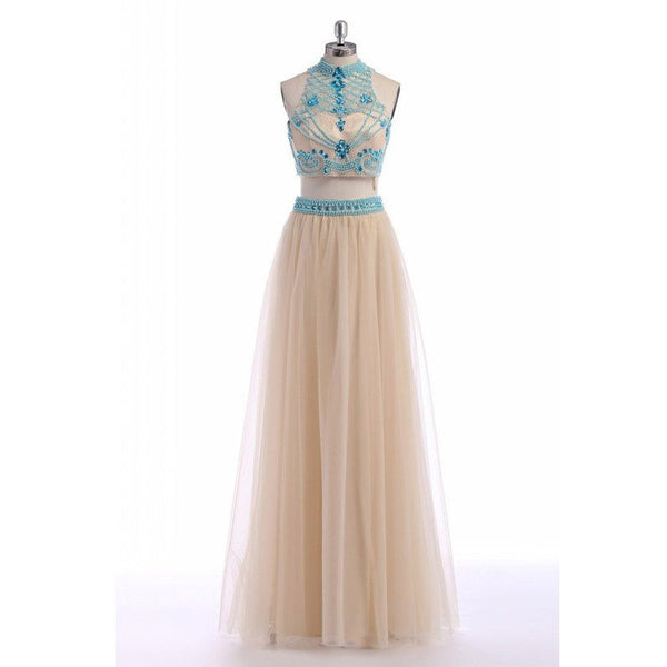 Beaded Nude Tulle Two Piece Prom Dress , Formal Gown Keyhole Back