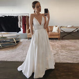 Sexy Deep V Neck Formal Evening Gown Ivory Wedding Party Dress With Spaghetti Straps