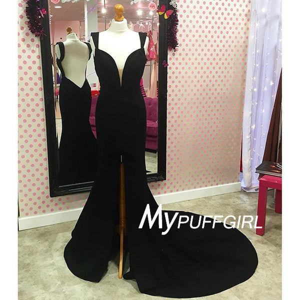 Black Plunging V Neck Cap Sleeves Mermaid Evening Gown With Slit