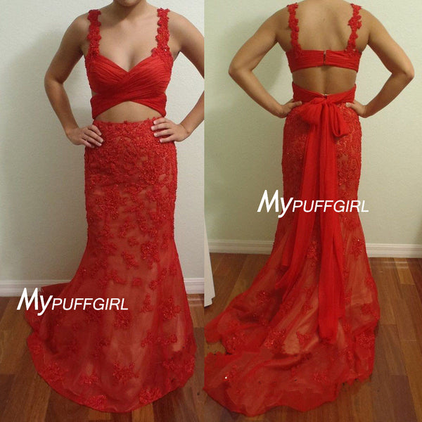 Red Lace Sweetheart Two Piece Mermaid Prom Dress With Straps