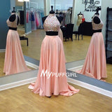 Pink High Neck Beaded Slit Two Piece Prom Gown With Keyhole Back