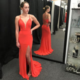 Fitted Coral Plunging V Neck Formal Evening Gown Jersey Prom Dress With Side Slit