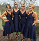 Navy Blue V Neck Bridesmaid Dress, Tea Length Party Dress With Pocklets