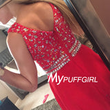Red V Neck Cap Sleeve Chiffon Prom Dress,Formal Gown With Beaded,Crystals Top