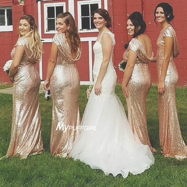 Rose Gold Sequin Mermaid Bridesmaid Gown,Evening Dress Low Back