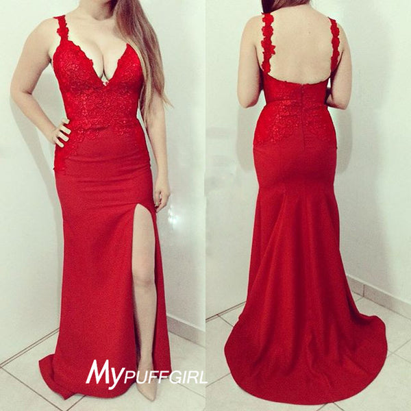 Red V Neck Slit Mermaid Prom Gown With Lace Appliques , Low Back